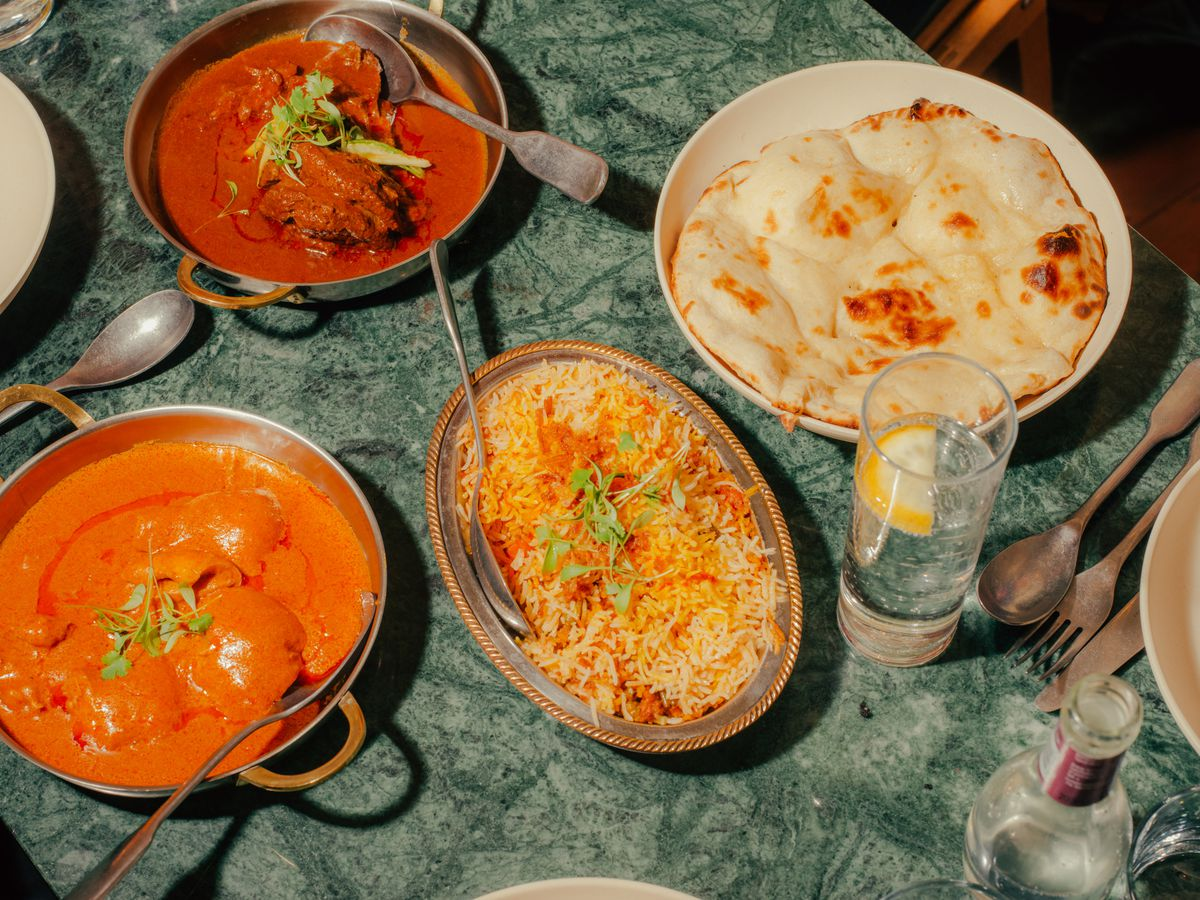 A spread of Awadhi Indian dishes at Lucknow 49 in Mayfair