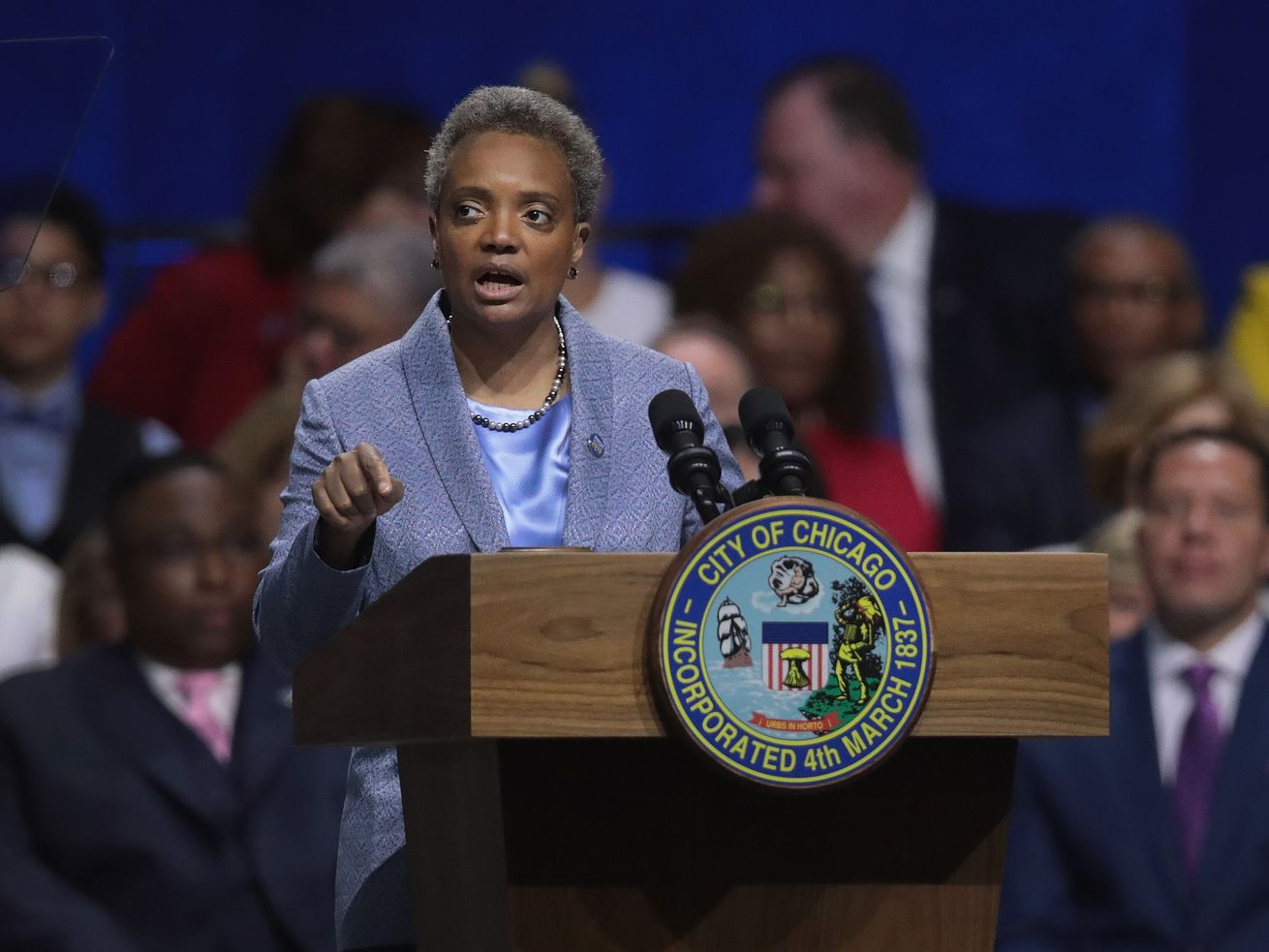 Mayor Lori Lightfoot addresses the audience at her inauguration.