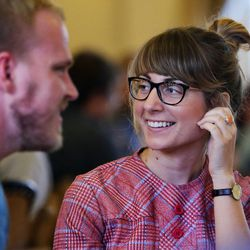 Samantha Nielsen takes part in discussion as Thomas McConkie of Lower Lights leads a group in mediation and discussion in Salt Lake City on Wednesday, June 14, 2017.