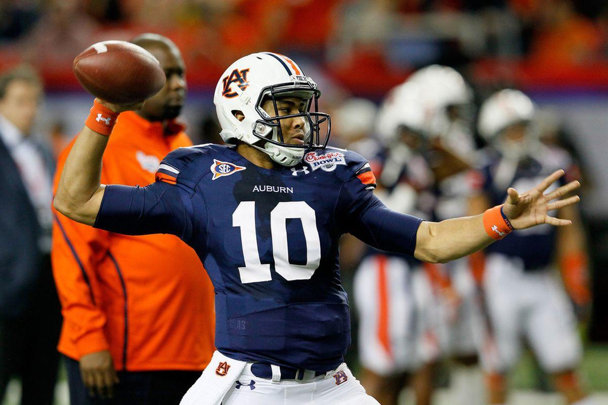Starting at quarterback for Auburn: No. 10, Kiehl Frazier.