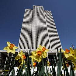 The Church Office Building of The Church of Jesus Christ of Latter-day Saints is pictured during the 190th Annual General Conference in Salt Lake City on Saturday, April 4, 2020. Due to the spread of COVID-19, the conference, normally held at the 21,000-seat Conference Center, is being broadcast from the Church Office Building without church members in attendance.