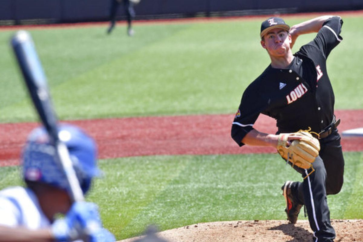 FILE - In this June 10, 2017, file photo, Louisville's Brendan McKay pitches to a Kentucky batter during the first inning of an NCAA college baseball tournament super regional game in Louisville, Ky. McKay's fastball-hurling left arm has made him a potent