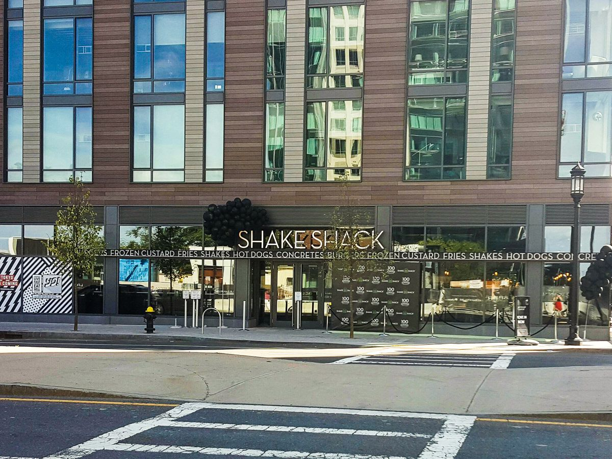 Exterior of Shake Shack in Boston's Seaport District