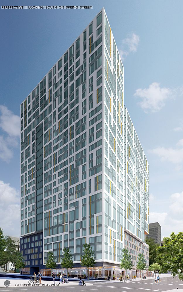 A rendering of a glass and white stucco apartment building in Atlanta.