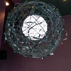 """Barb wire lamp (""""kryptonite lamp"""") custom made in Las Vegas."""