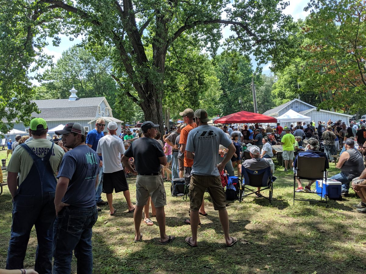 The waiting crowd for the waterfowl blind draw in 2019 at Rice Lake SFWA. Credit: Dale Bowman