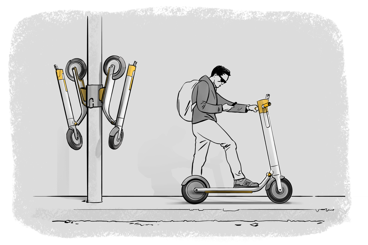 Illustration of light pole with fold-up scooters attached next to a man getting on a scooter
