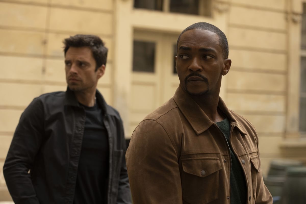 """Sam (Anthony Mackie) and Bucky (Sebastian Stan) in """"The Falcon and the Winter Soldier."""""""