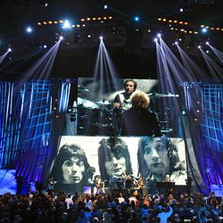 Members of Small Faces/Faces perform after induction into the Rock and Roll Hall of Fame Saturday, April 14, 2012, in Cleveland.