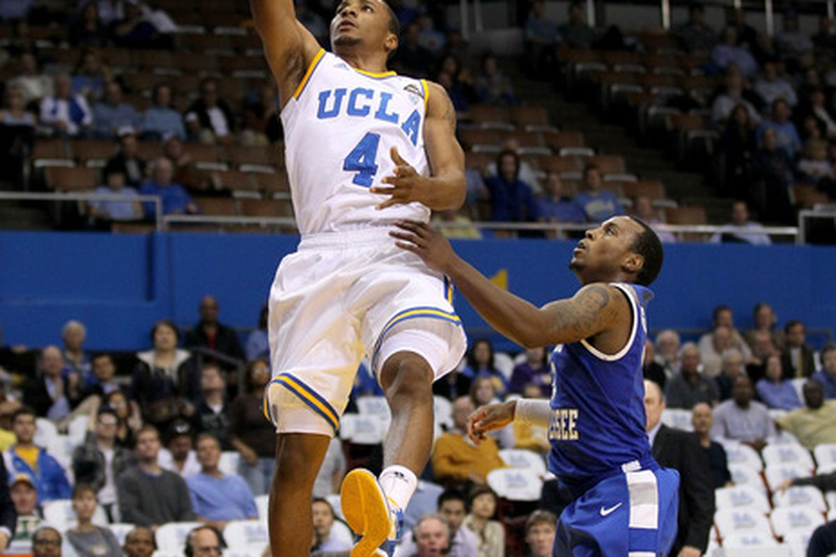 LOS ANGELES, CA - NOVEMBER 15:  Norman Powell #4 of the UCLA Bruins consistently rose above the weaker Chinese team.  (Photo by Stephen Dunn/Getty Images)