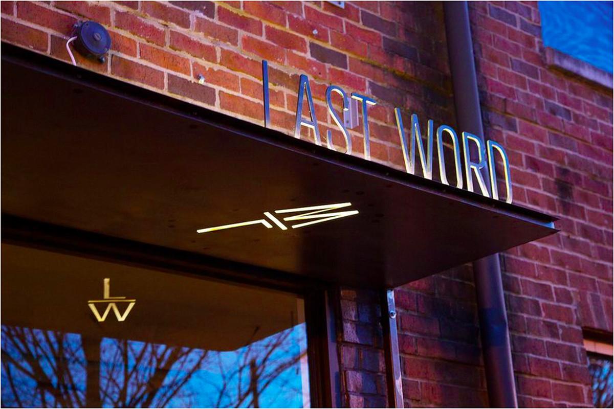 Signage outside Last Word.
