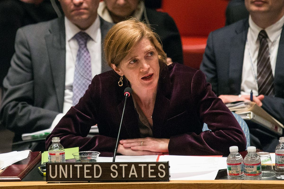 Samantha Power speaks at a UN Security Council Meeting