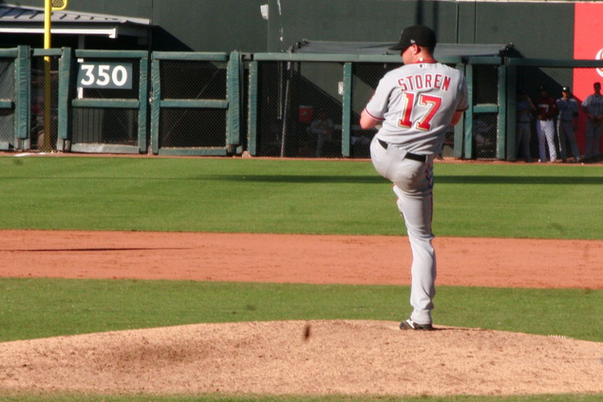 Washington Nationals' reliever Drew Storen (seen here pitching in the Arizona Fall League in November 2009) was the losing pitcher in the '09 AFL Rising Stars game. Photo © Ed Chigliak.