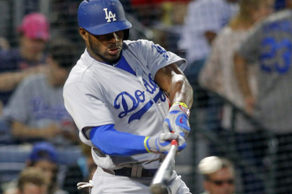 Yasiel Puig hit a single on this first pitch in his at-bat in the fourth inning on Tuesday night.