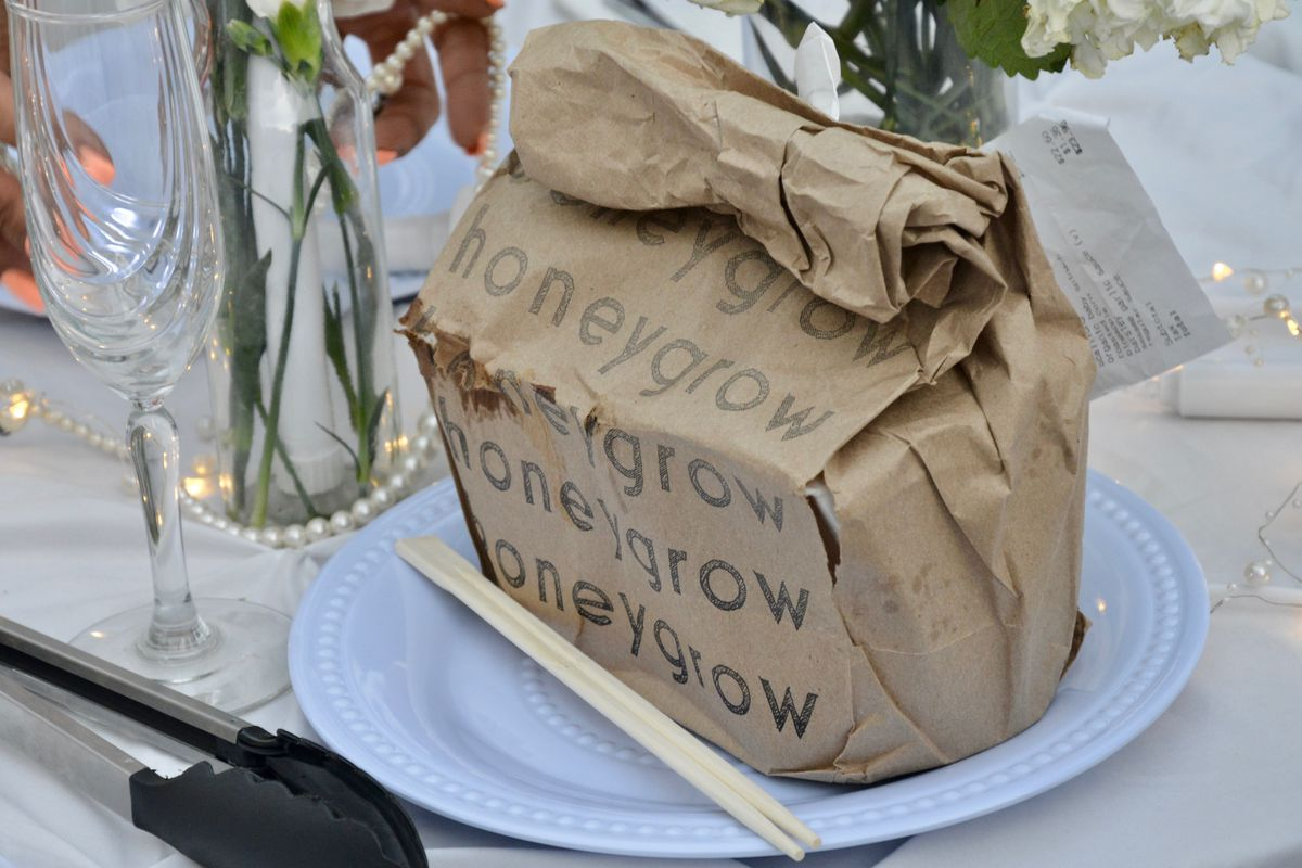a paperbag printed with the word honeygrow