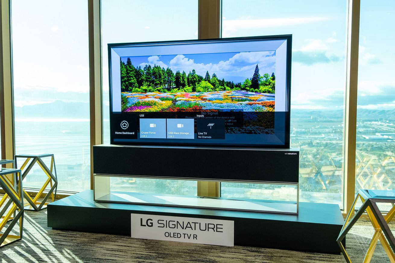 LG's latest rollable TV descends from the ceiling like a projector screen