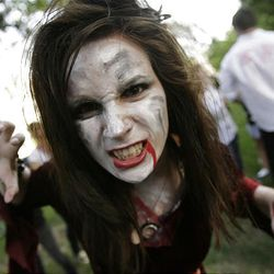 A Zombie Walk participant strolls the streets of Salt Lake City.