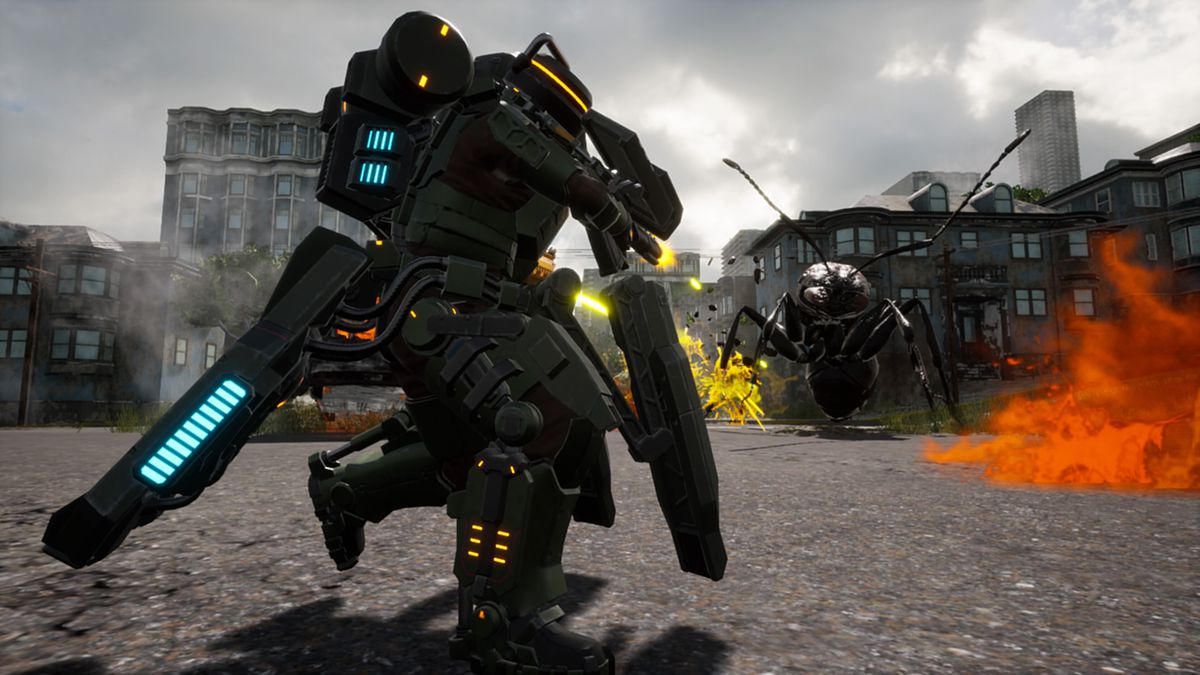 Earth Defense Force: Iron Rain - running by a giant ant