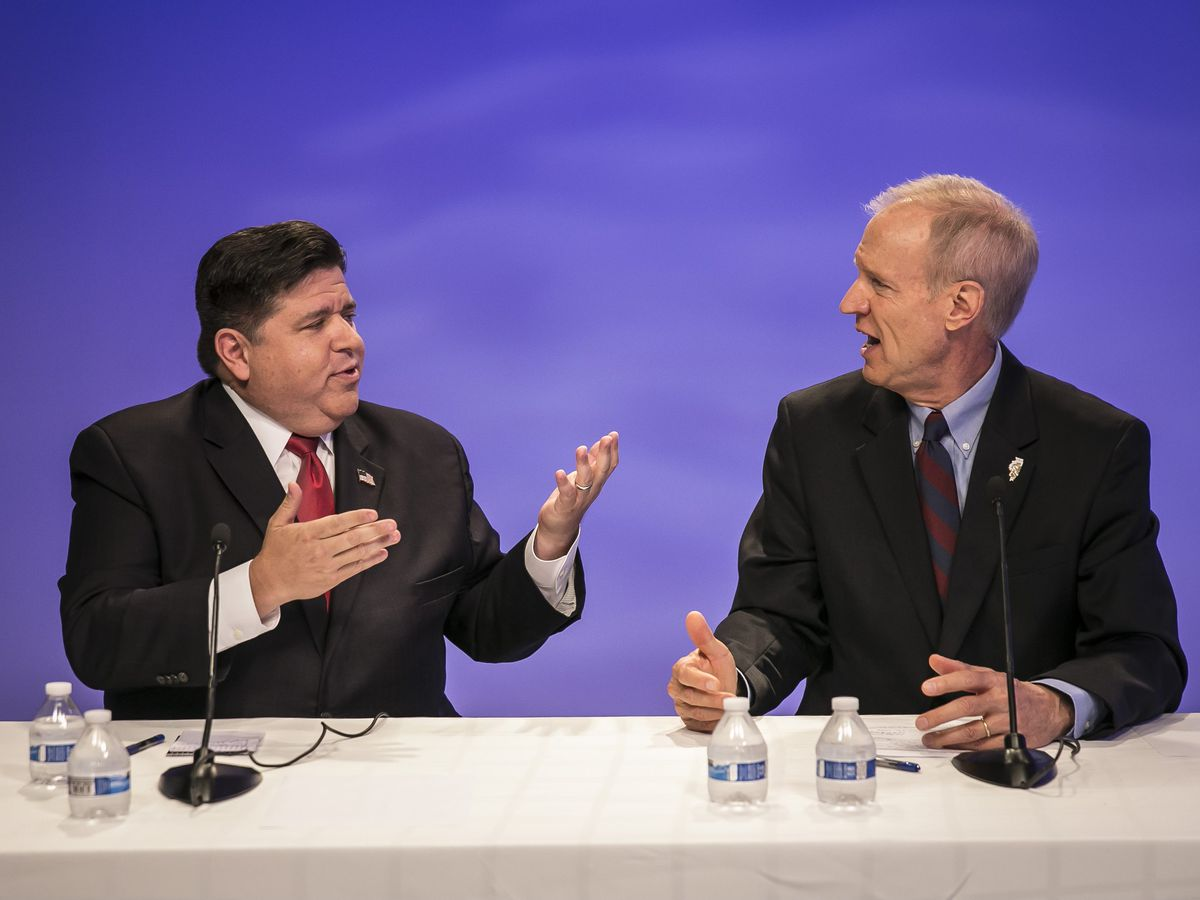 Gov. Bruce Rauner and Democrat J.B. Pritzker argued often during the hour-long forum with the Sun-Times Editorial Board | Rich Hein/Sun-Times