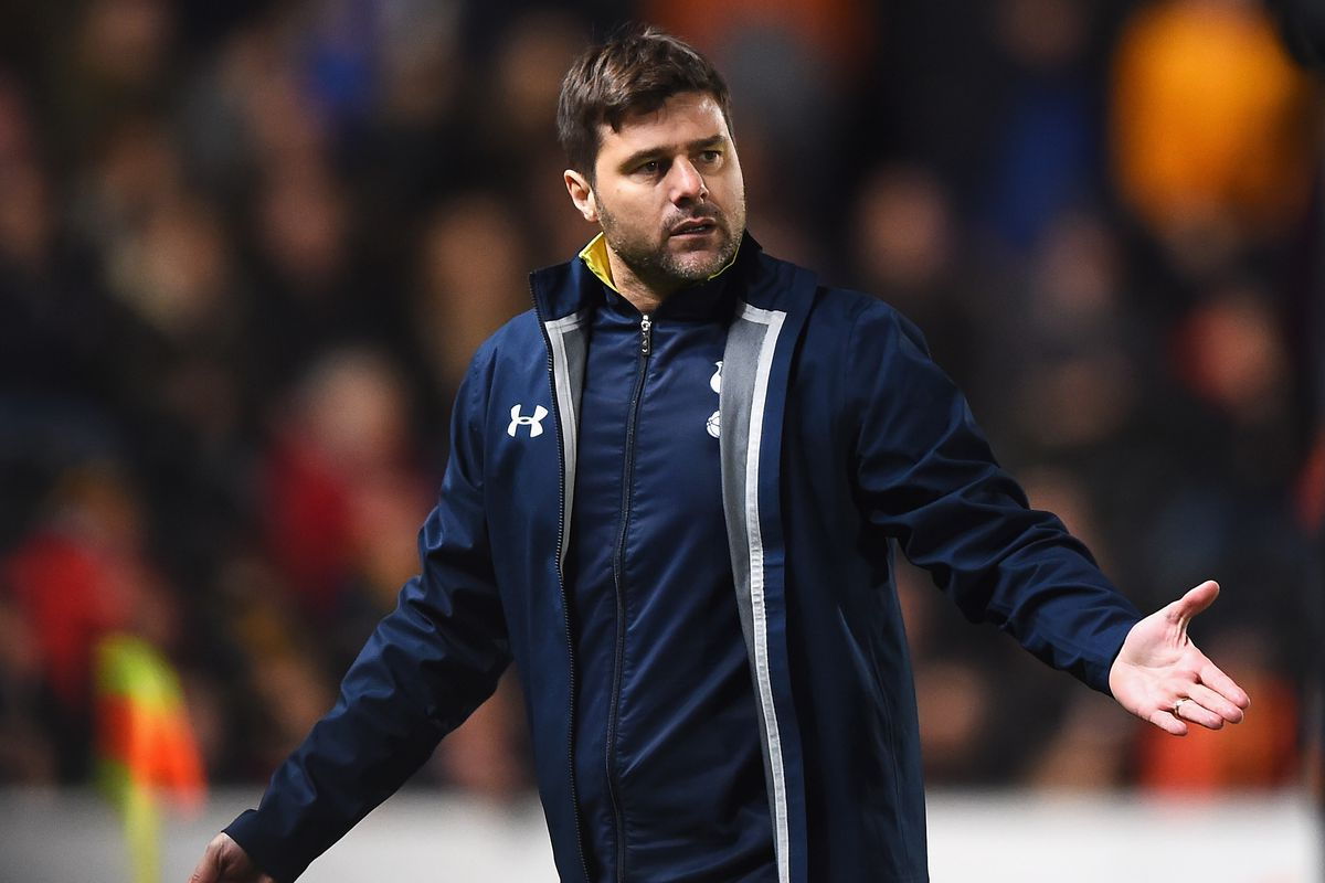 Mauricio Head Coachettino gestures his massive disappointment with his limited role at Spurs.