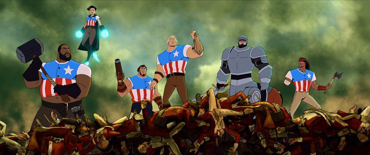Animación de seis personajes, cinco con pantalones y camisas de rayas y estrellas y uno con armadura, de pie sobre un montón de escombros.