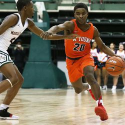 Young's Dalen Davis (20) dribbles in the front court against Morgan Park.