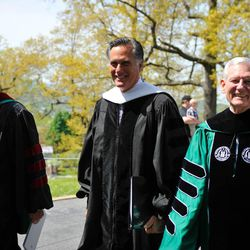 Mitt Romney walks with Southern Virginia University Chairman Glade Knight and President Paul K. Sybrowsky following commencement on April 27, 2013