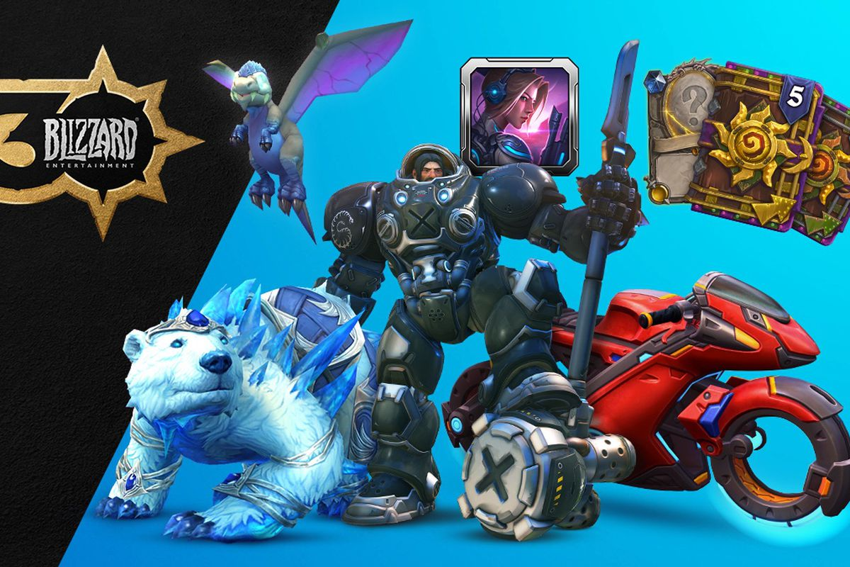 Artwork for Blizzard Entertainment's 30th anniversary cosmetics, including a WoW mount, Raynhardt skin, and Tracer's bike.