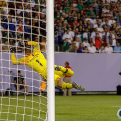 July 7, 2019 - Chicago, Illinois, United States - USA goalkeeper Zack Steffen (1) leaps towards and errant shot during the Gold Cup Final at Soldier Field.