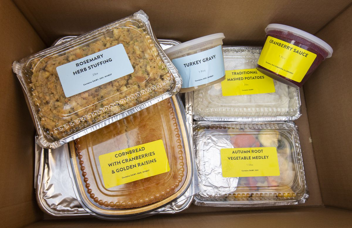 A thankgiving meal in a box.