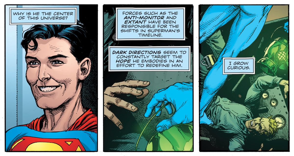 A young Superman in the far future, Green Lantern Alan Scott in the past, and Doctor Manhattan in Doomsday Clock #10, DC Comis (2019).