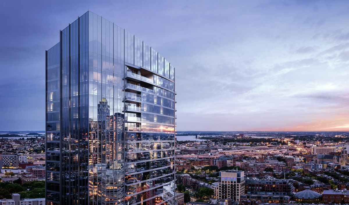 Rendering of the exterior of the top floors of a shiny, glassy skyscraper overlooking a cityscape.