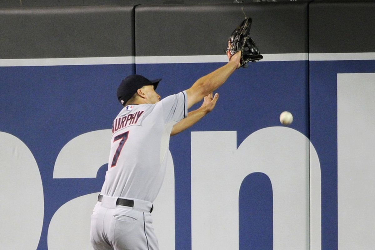 One of the numerous fly balls not gotten to by the Tribe right fielders