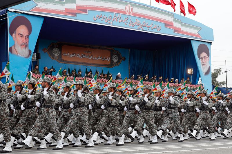 Iranian President Hassan Rouhani attends a military parade during a ceremony marking the country's annual army day in Tehran on April 18, 2019.