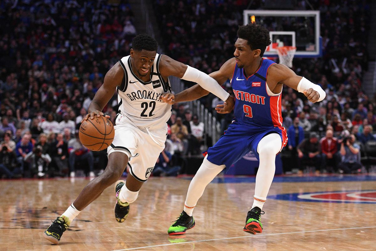 Brooklyn Nets guard Caris LeVert drives to the basket against Detroit Pistons guard Langston Galloway during the fourth quarter at Little Caesars Arena.