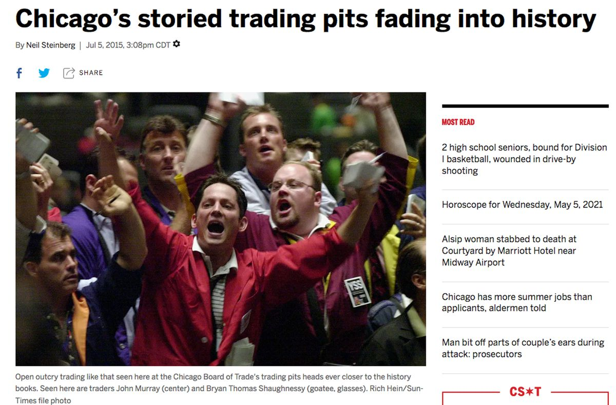 Click here to read Neil Steinberg's in-depth 2015 look at the history of Chicago's storied trading pits.