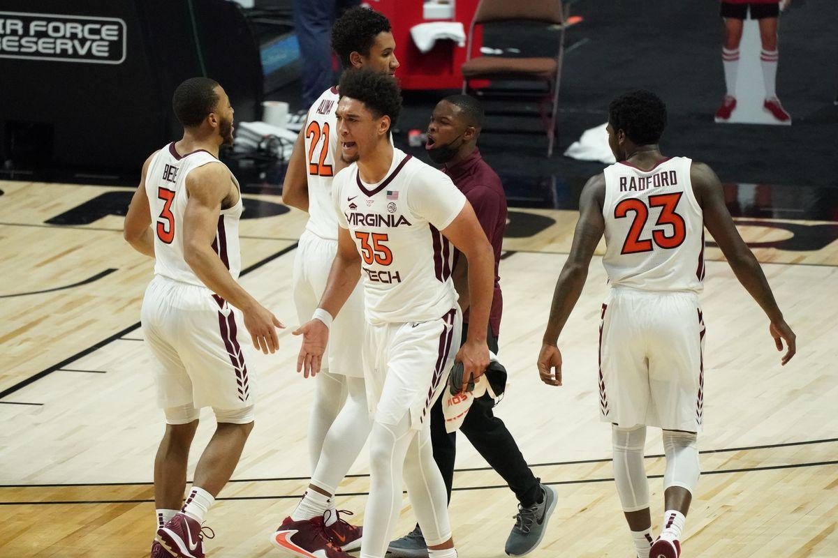 Virginia Tech Hokies forward Cordell Pemsl and guard Wabissa Bede react after the first half against the South Florida Bulls at Mohegan Sun Arena.