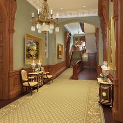 An artistic rendering of the renovated Lower Grand Hall in the Salt Lake Temple.