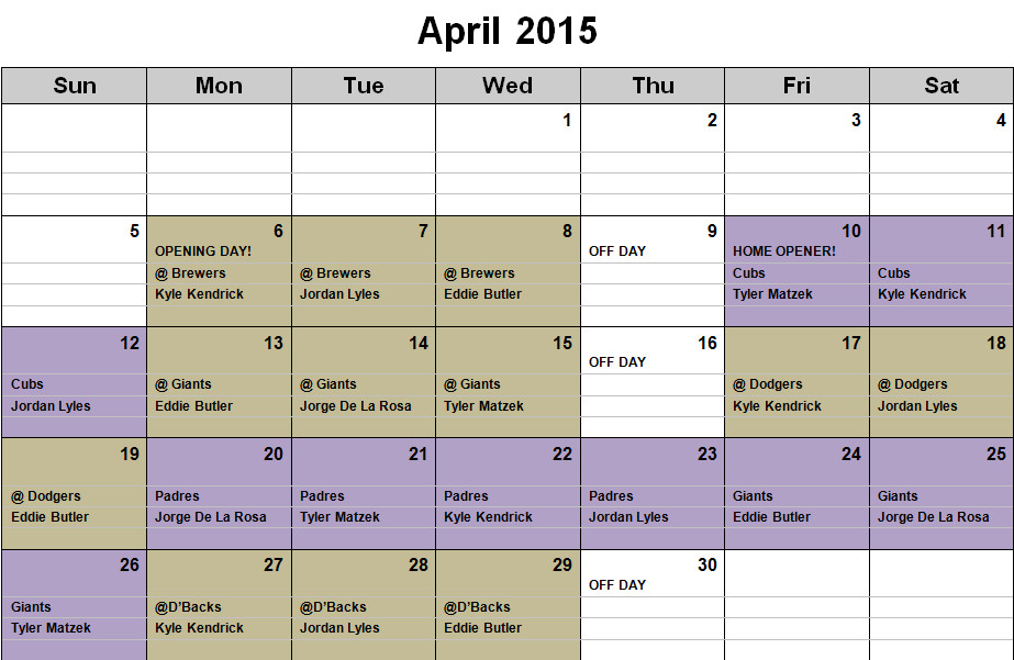 Rockies Rotation calendar