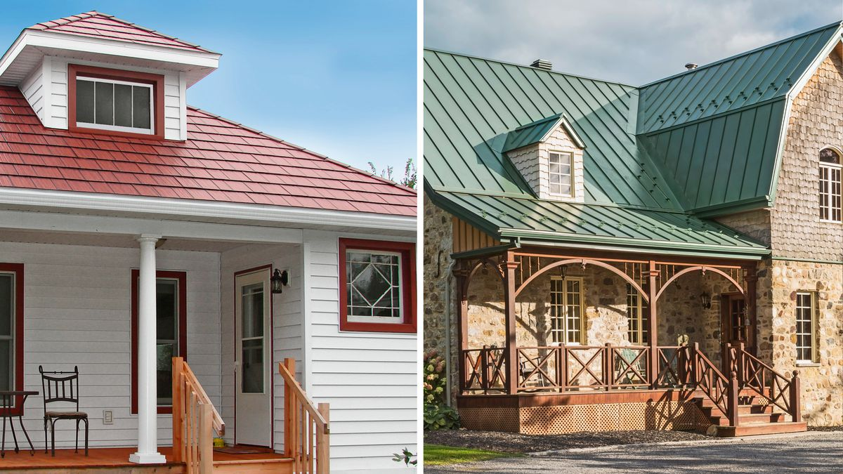 red and green metal roofs, July/Aug 2020
