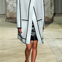 Perforated leather coat