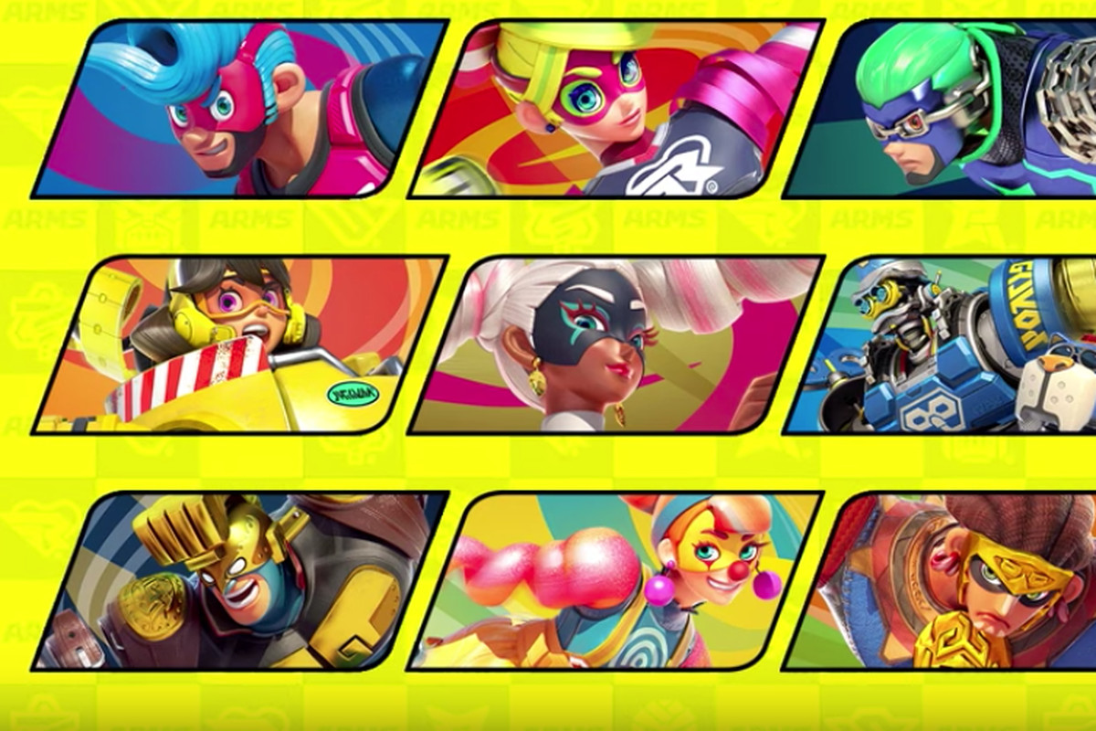 screen capture showing fighters from Arms, one of whom will be coming to Super Smash Bros. Ultimate in June 2020.