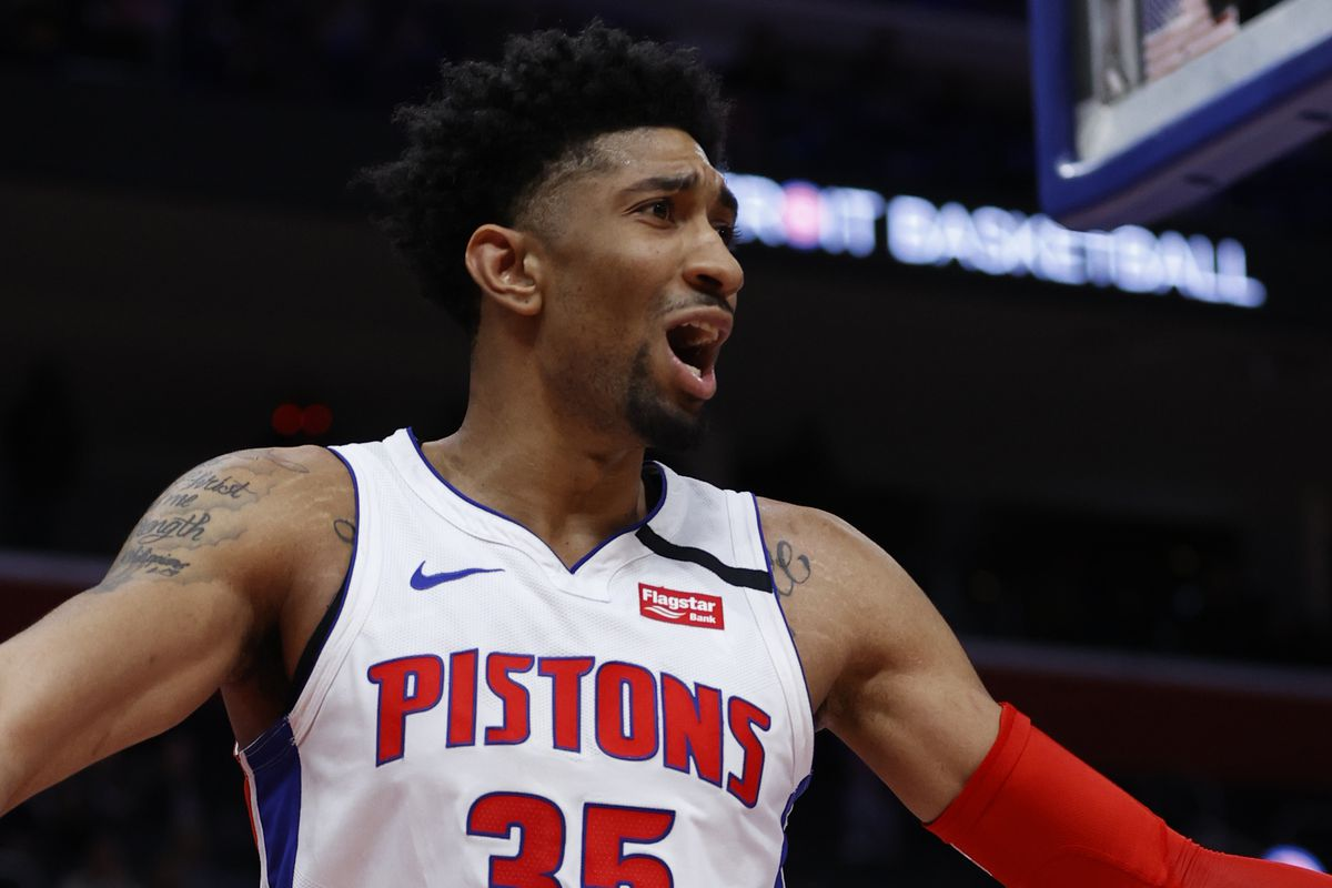 Detroit Pistons forward Christian Wood reacts during the second half against the Utah Jazz at Little Caesars Arena.