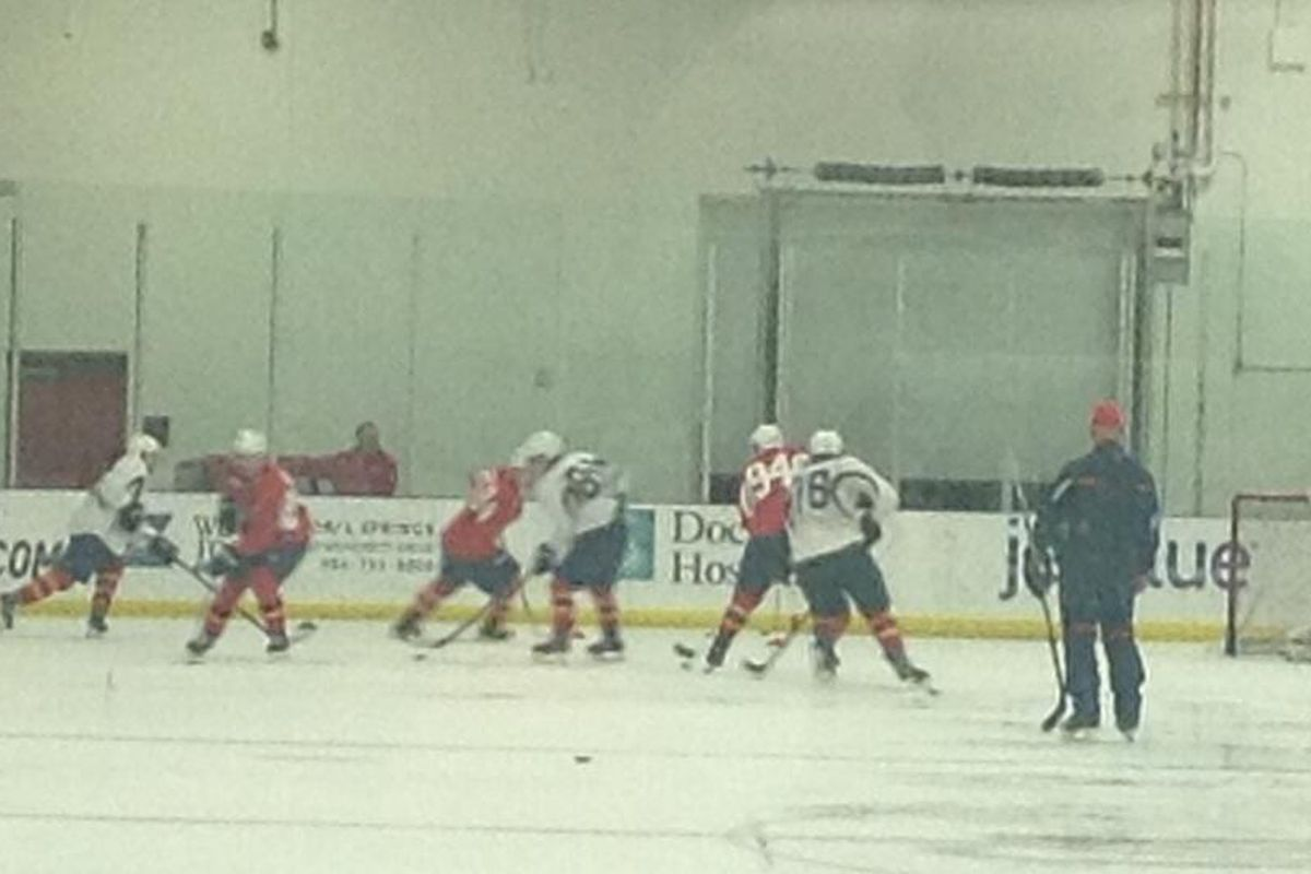Stickhandling drills in the zone during the forward portion of day four practices.