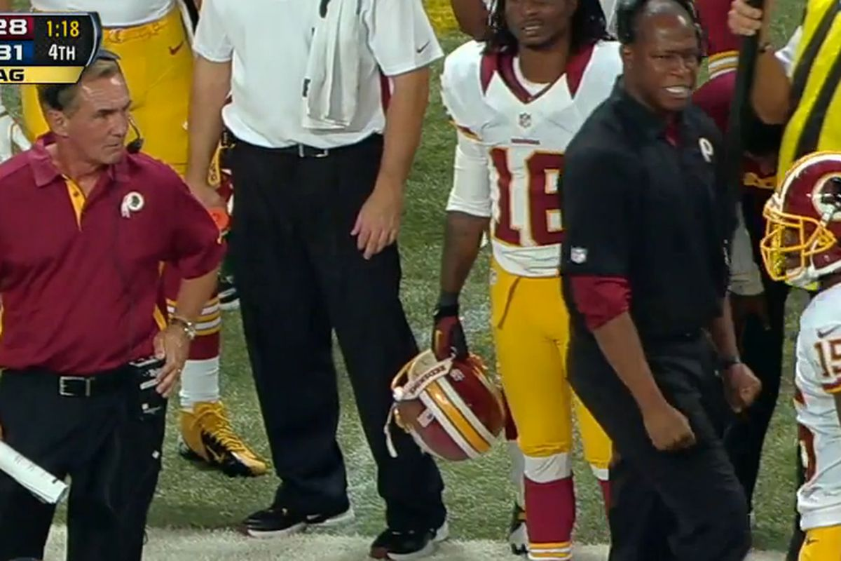 Redskins head coach Mike Shanahan was none too pleased with Josh Morgan.