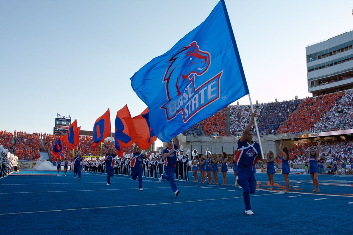 BOISE, ID - SEPTEMBER 24:  The Boise State Broncos flag is run onto the field before the game against the Tulsa Golden Hurricane at Bronco Stadium on September 24, 2011 in Boise, Idaho.  (Photo by Otto Kitsinger III/Getty Images)