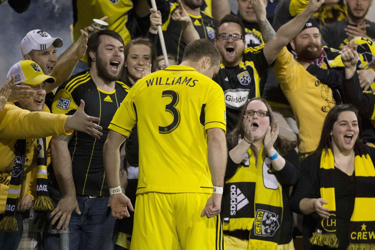 Josh Williams celebrates with the Nordecke -- TFC best mark him on set-pieces, lest he - and they - have more to cheer about.