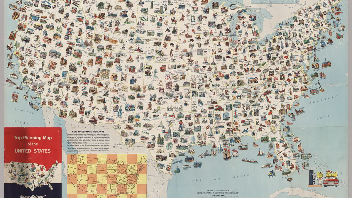 Visit every place on this vintage US map for the most epic ...