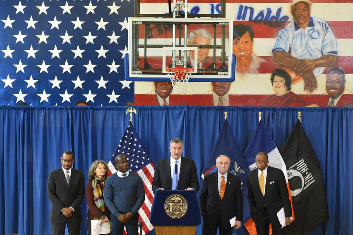 MAYOR's OFFICE: New York Mayor Bill de Blasio annnouncing stop and frisk