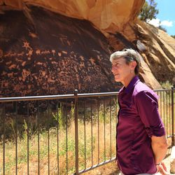 Interior Secretary Sally Jewell makes a stop at Newspaper Rock during her visit to Canyon Country in southern Utah on Thursday, July 14, 2016. During her trip to the region, she said she was shocked by the lack of protection for Native American cultural sites. Today, President Barack Obama declared the Bears Ears National Monument in southeast Utah.